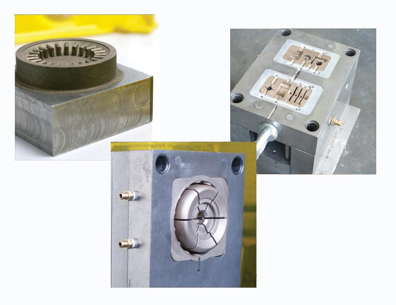 A variety of tool inserts fabricated from bronze alloy.