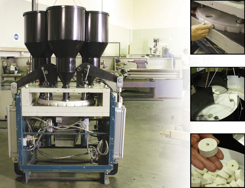 Pill press, designed and manufactured for the production of compressed rat poison pellets.