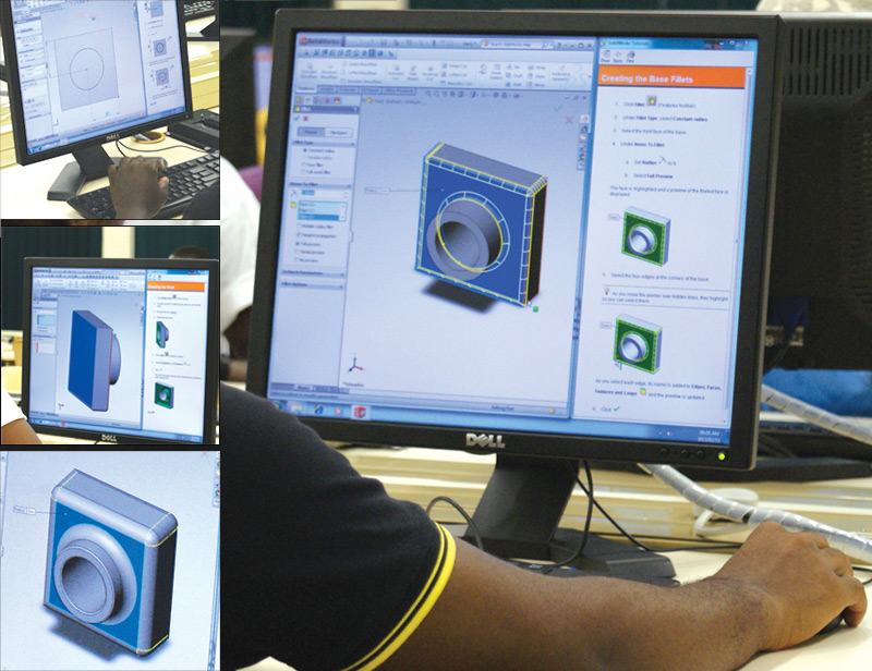 Mechanical Engineering students completing a class assignment on CAD software called SolidWorks.