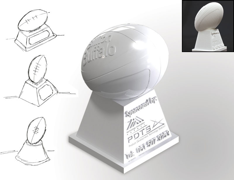 A rugby trophy designed, and manufactured from CAD data to produce a physical plastic model.