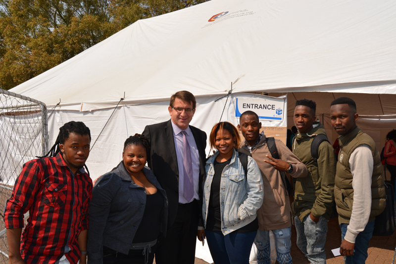 Vice-Chancellor and Principal, Prof. Henk de Jager met with students to show moral support.