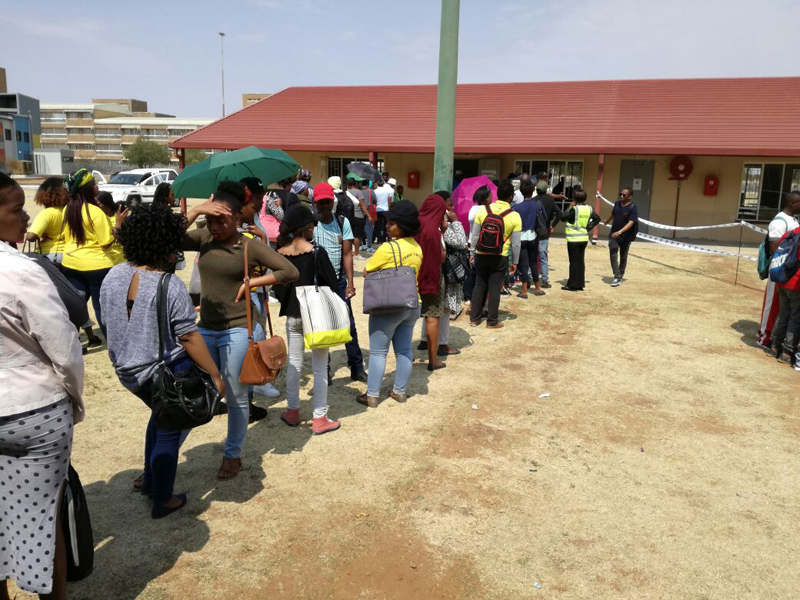 Welkom Campus: Welkom Campus students queued patiently and waited their turn to cast their vote at Block C.