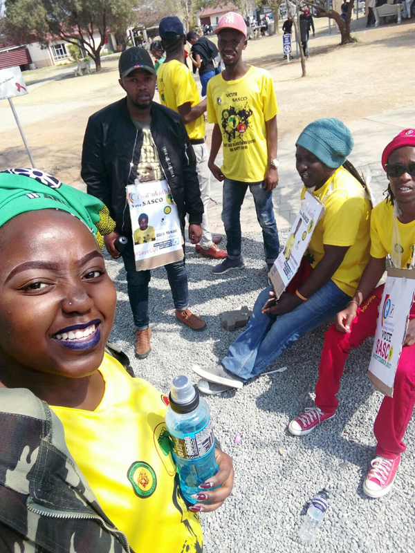 Welkom Campus: Patience Gumbe and her fellow SASCO friends after casting their votes at Welkom Campus.